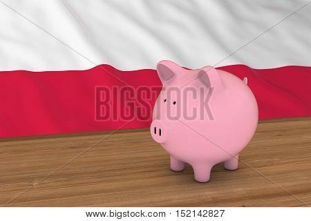 Poland Finance Concept - Piggybank In Front Of Polish Flag 3D Illustration