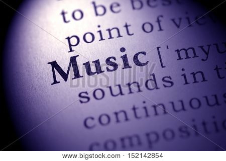 Fake Dictionary definition of the word music.