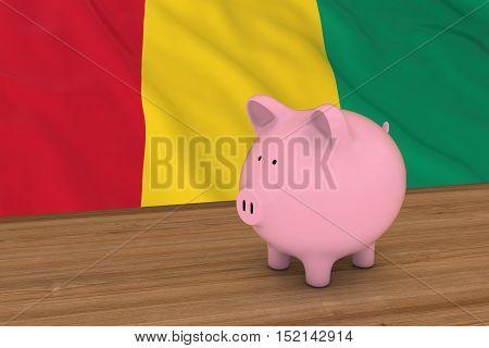 Guinea Finance Concept - Piggybank In Front Of Guinean Flag 3D Illustration