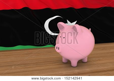 Libya Finance Concept - Piggybank In Front Of Libyan Flag 3D Illustration
