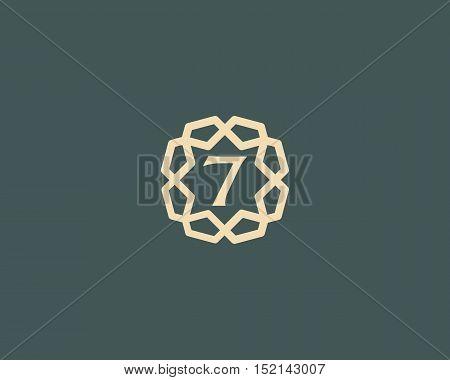 Premium number 7 logo icon vector design. Luxury jewelry frame gem edge logotype. Print figure stamp sign symbol