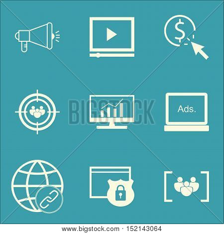Set Of Advertising Icons On Focus Group, Connectivity And Questionnaire Topics. Editable Vector Illu