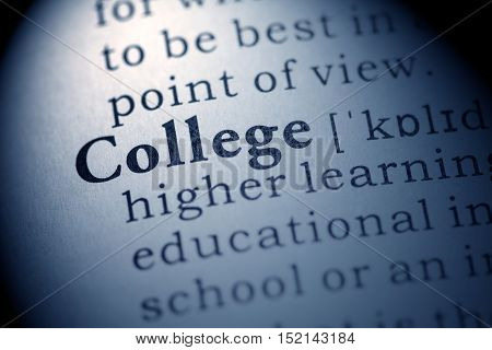 Fake Dictionary definition of the word college.