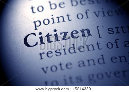 Fake Dictionary definition of the word citizen.