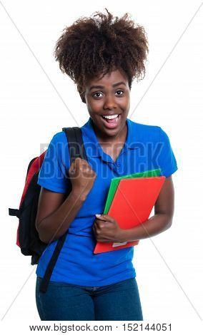Beautiful african american female student with backpack in colorful style on an isolated white background for cut out