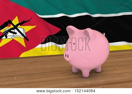 Mozambique Finance Concept - Piggybank In Front Of Mozambican Flag 3D Illustration