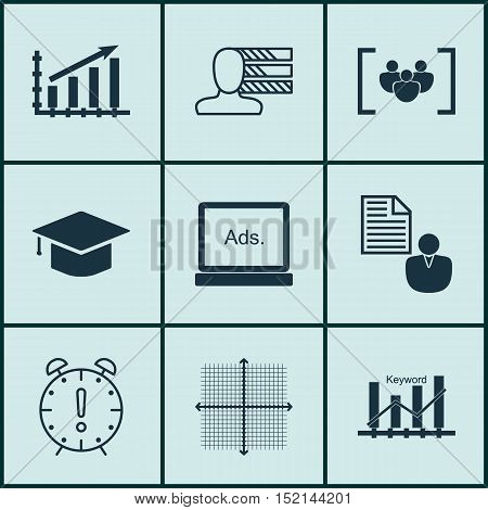 Set Of 9 Universal Editable Icons For Statistics, Education And Seo Topics. Includes Icons Such As Q