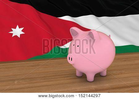 Jordan Finance Concept - Piggybank In Front Of Jordanian Flag 3D Illustration