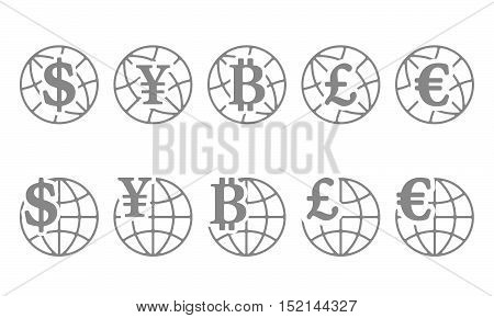 Set of icons globe with different currencies