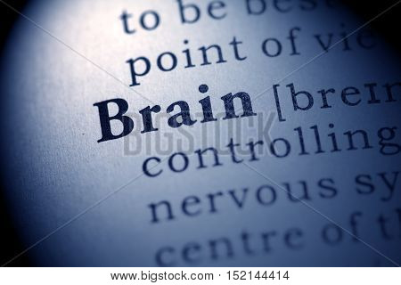 Fake Dictionary definition of the word brain.