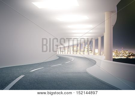 Modern road tunnel with illuminated night city view. 3D rendering