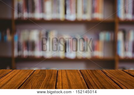 Desk in library with copy space