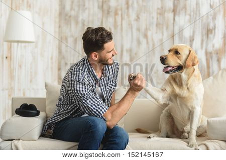 good boy, happy pet giving paw to his human