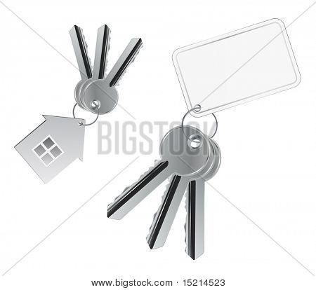 metal keys with tag