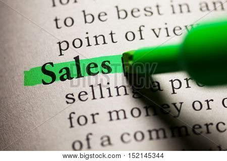 Fake Dictionary definition of the word sales.