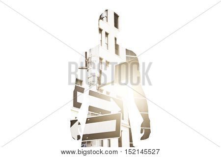 Silhouette of man on abstract white background with arrows on road signs and sunlight. Different direction concept. Double exposure