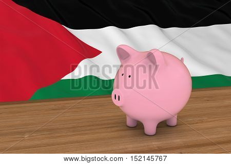 Palestine Finance Concept - Piggybank In Front Of Palestinian Flag 3D Illustration