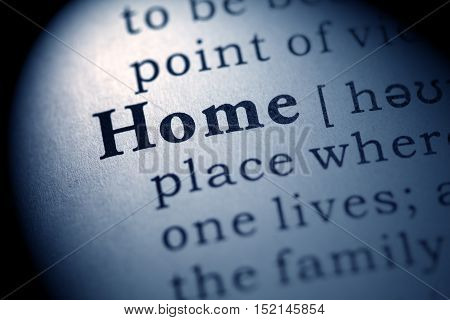 Fake Dictionary definition of the word home.