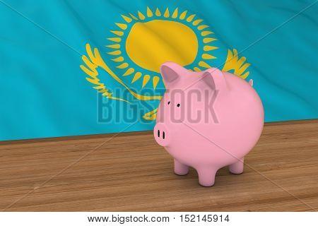 Kazakhstan Finance Concept - Piggybank In Front Of Kazakhstani Flag 3D Illustration