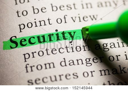 Fake Dictionary definition of the word security.