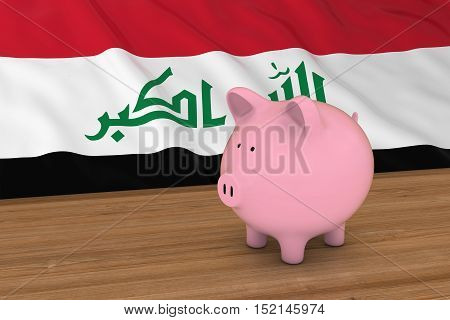 Iraq Finance Concept - Piggybank In Front Of Iraqi Flag 3D Illustration