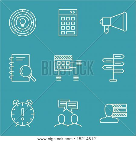 Set Of Project Management Icons On Discussion, Analysis And Personal Skills Topics. Editable Vector