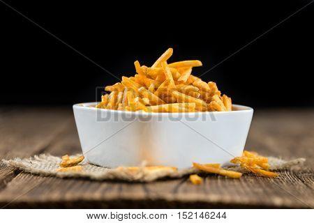 Some Fried Potato Sticks (close-up Shot)