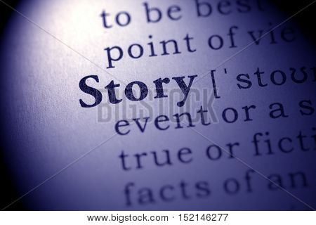 Fake Dictionary definition of the word story.