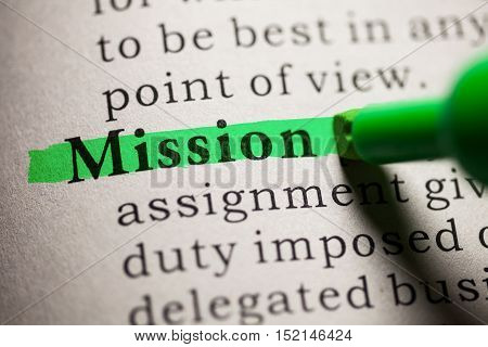 Fake Dictionary definition of the word Mission.