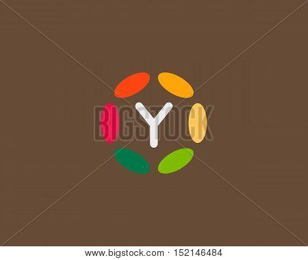 Color letter Y logo icon vector design. Hub frame logotype.