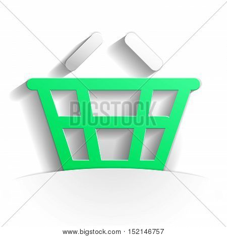 basket icon in paper style full vector