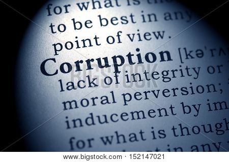 Fake Dictionary Dictionary definition of the word corruption.