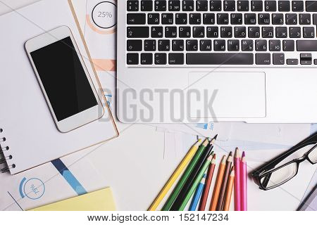 Smartphone, Notepad And Keyboard