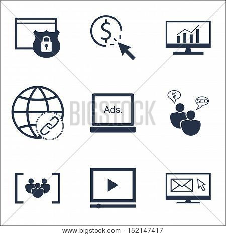 Set Of Seo Icons On Connectivity, Security And Ppc Topics. Editable Vector Illustration. Includes Gr