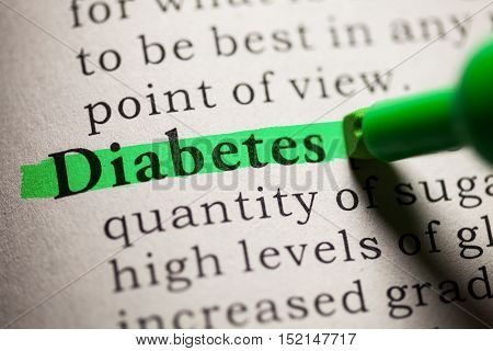 Fake Dictionary definition of the word diabetes.