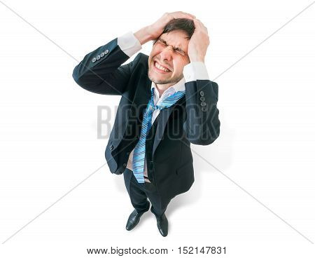 Businessman Has Headache And Is Holding His Head. View From Top.