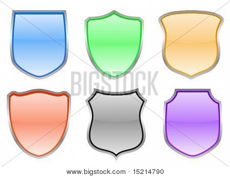 colored glossy shield - vector set