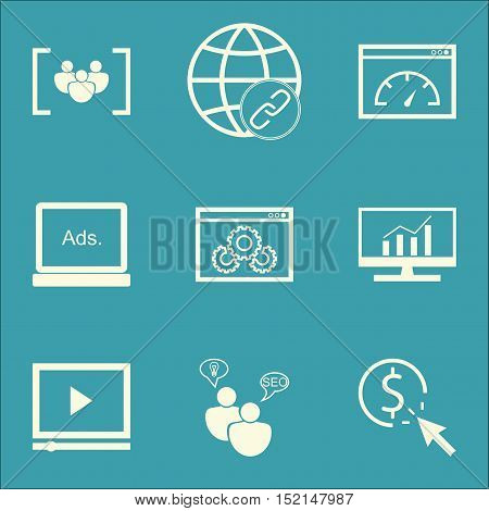 Set Of Seo Icons On Website Performance, Loading Speed And Seo Brainstorm Topics. Editable Vector Il
