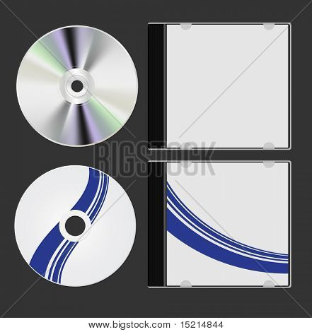 cd with cover - two sides, vector