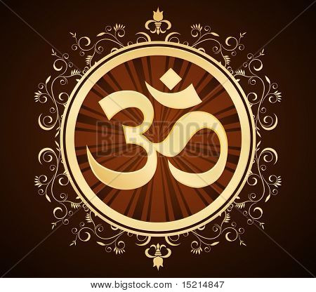 golden om symbol in floral frame