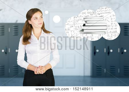 Attractive caucasian schoolgirl thinking about book and mathematical formulas on blurry interior background. Education concept
