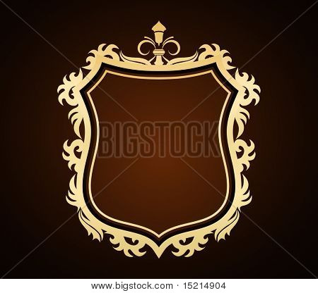 ornate shield golden frame - vector design