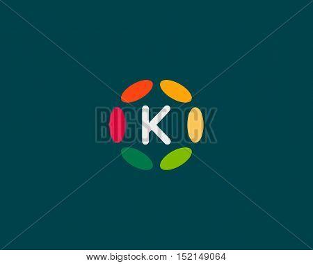 Color letter K logo icon vector design. Hub frame logotype.