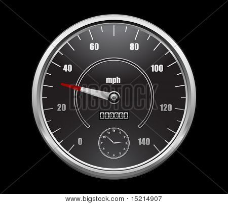 speedometer on black background