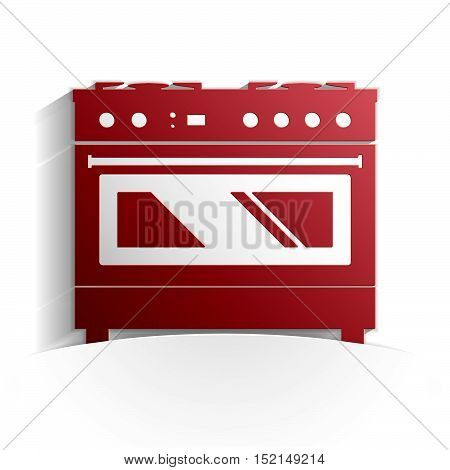 oven icon in paper style full vector