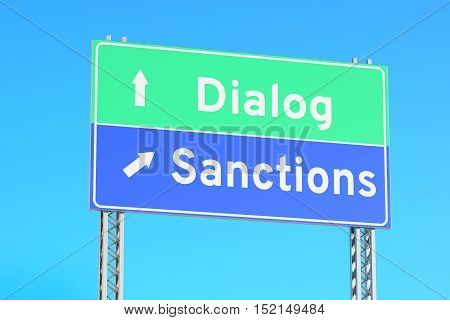 sanctions or dialog green road signs 3D rendering