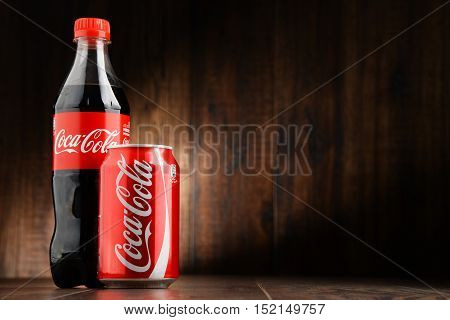 POZNAN POLAND - OCT 13 2016: Coca-Cola is a carbonated soft drink manufactured by The Coca-Cola Company headquartered in Atlanta Georgia USA