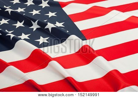 Close Up Studio Shot Of Ruffled Flags - United States Of America