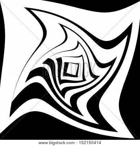 Spiral Vortex Shape. Radiating Squares With Spiral Distortion.