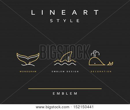 Fish whale emblem in linear style. Fish Seafood Elegant emblem design illustration. Fish icon, Seafood logo decorations design element